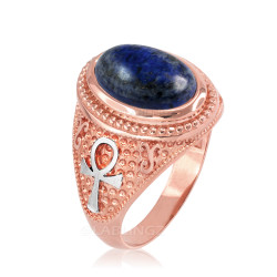 Two-Tone Rose Gold Egyptian Ankh Cross Lapis Lazuli Statement Ring.