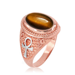 Two-Tone Rose Gold Egyptian Ankh Cross Tiger Eye Statement Ring.