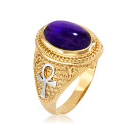 Two-Tone Yellow Gold Egyptian Ankh Cross Purple Amethyst Statement Ring.