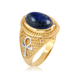 Two-Tone Yellow Gold Egyptian Ankh Cross Lapis Lazuli Statement Ring.