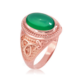 Rose Gold Celtic Trinity Green Onyx Gemstone Ring