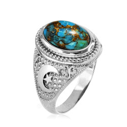 Sterling Silver Blue Copper Turquoise Islamic Crescent Moon Ring