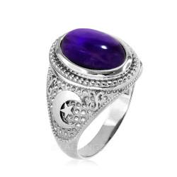 White Gold Purple Amethyst February Birthstone Islamic Crescent Moon Ring.