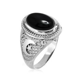 White Gold Black Onyx Islamic Crescent Moon Ring.