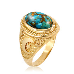 Yellow Gold Blue Copper Turquoise Islamic Crescent Moon Ring.