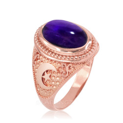 Rose Gold Purple Amethyst February Birthstone Islamic Crescent Moon Ring.