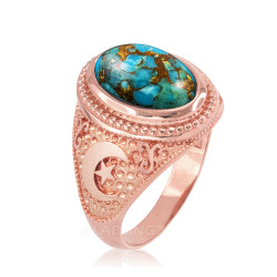 Rose Gold Blue Copper Turquoise Islamic Crescent Moon Ring.