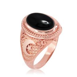 Rose Gold Black Onyx Islamic Crescent Moon Ring.