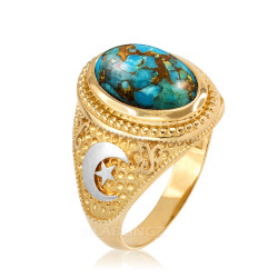 Two-Tone Yellow Gold Blue Copper Turquoise Islamic Crescent Moon Ring.