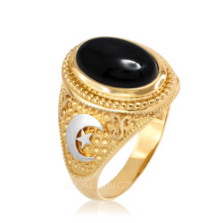 Two-Tone Yellow Gold Black Onyx Islamic Crescent Moon Ring.