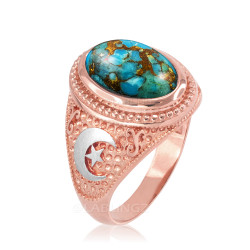 Two-Tone Rose Gold Blue Copper Turquoise Islamic Crescent Moon Ring.