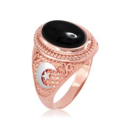 Two-Tone Rose Gold Black Onyx Islamic Crescent Moon Ring.