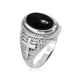 Sterling Silver Black Onyx Gemstone Christian Cross Ring