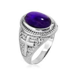 White Gold Purple Amethyst February Birthstone Christian Cross Ring
