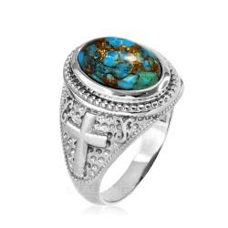 White Gold Blue Copper Turquoise Christian Cross Gemstone Ring