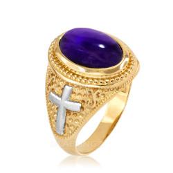 Two-Tone Yellow Gold Purple Amethyst February Birthstone Christian Cross Ring
