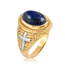 Two-Tone Yellow Gold Lapis Lazuli Christian Cross Gemstone Ring