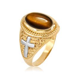 Two-Tone Yellow Gold Tiger Eye Christian Cross Gemstone Ring