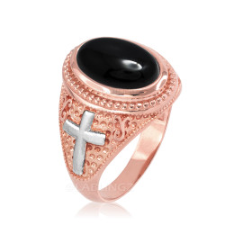 Two-Tone Rose Gold Black Onyx Christian Cross Gemstone Ring