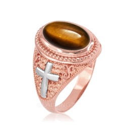 Two-Tone Rose Gold Tiger Eye Christian Cross Gemstone Ring