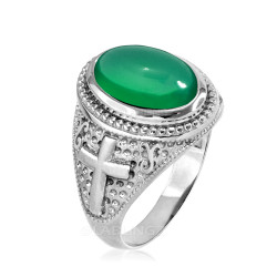 Sterling Silver Green Onyx Gemstone Christian Cross Ring