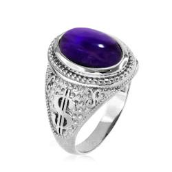 Sterling Silver Purple Amethyst February Cash Money Dollar Sign Birthstone Ring