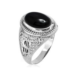 White Gold Cash Money Dollar Black Onyx Statement Ring