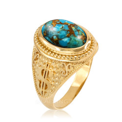 Yellow Gold Cash Money Dollar Sign Blue Copper Turquoise Statement Ring