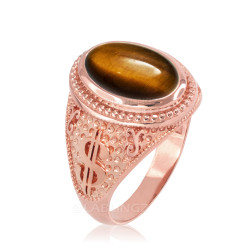Rose Gold Cash Money Dollar Tiger Eye Statement Ring