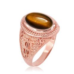 Rose Gold Cash Money Dollar Tiger Eye Statement Ring