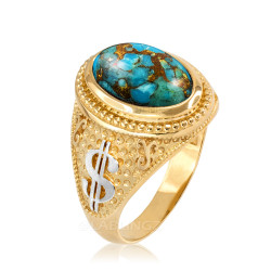 Two-Tone Yellow Gold Cash Money Dollar Sign Blue Copper Turquoise Statement Ring