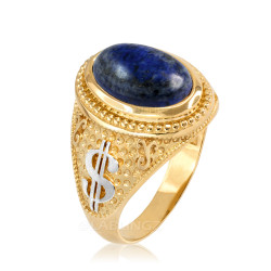 Two-Tone Yellow Gold Cash Money Dollar Lapis Lazuli Statement Ring