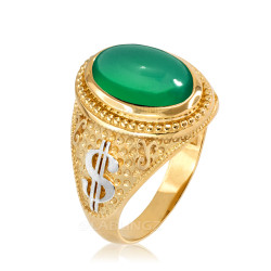 Two-Tone Yellow Gold Cash Money Dollar Green Onyx Statement Ring