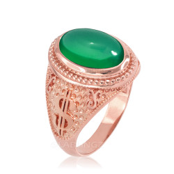 Two-Tone Rose Gold Cash Money Dollar Green Onyx Statement Ring