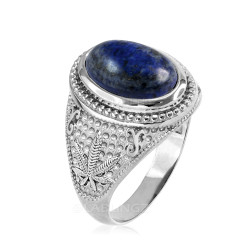 White Gold Marijuana Weed Lapis Lazuli Statement Ring