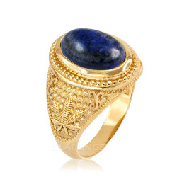 Yellow Gold Marijuana Weed Lapis Lazuli Statement Ring