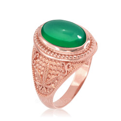 Rose  Gold Marijuana Weed Green Onyx Statement Ring