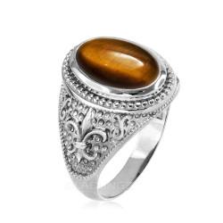Sterling Silver Tiger Eye Fleur-De-Lis Gemstone Ring.
