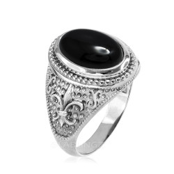 White Gold Black Onyx Fleur-De-Lis Gemstone Ring