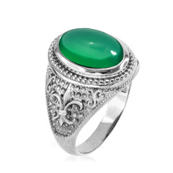 White Gold Green Onyx Fleur-De-Lis Gemstone Ring
