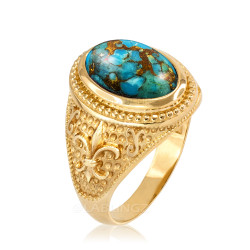 Yellow Gold Blue Copper Turquoise Fleur-De-Lis Gemstone Ring