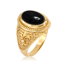 Yellow Gold Black Onyx Fleur-De-Lis Gemstone Ring