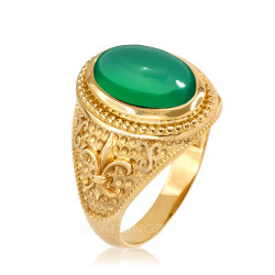Yellow Gold Green Onyx Fleur-De-Lis Gemstone Ring