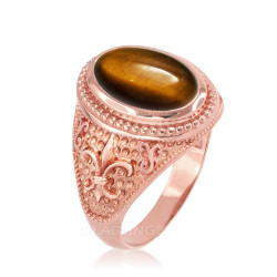 Rose Gold Tiger Eye Fleur-De-Lis Gemstone Ring