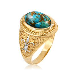 Two-Tone Yellow Gold Blue Copper Turquoise Fleur-De-Lis Gemstone Ring