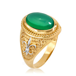 Two-Tone Yellow Gold Green Onyx Fleur-De-Lis Gemstone Ring