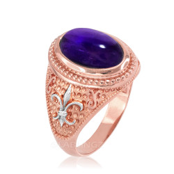 Two-Tone Rose Gold Purple Amethyst February Fleur-De-Lis Birthstone Ring