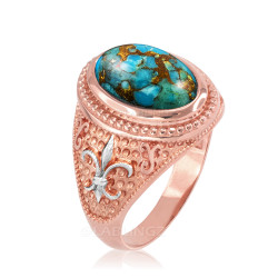 Two-Tone Rose Gold Blue Copper Turquoise Fleur-De-Lis Gemstone Ring