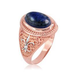 Two-Tone Rose Gold Lapis Lazuli Fleur-De-Lis Gemstone Ring