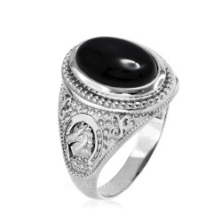 Sterling Silver Black Onyx Lucky Horse Shoe Gemstone Ring